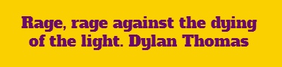 Rage, rage against the dying of the light.      Dylan Thomas...