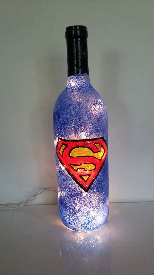 Superman Logo Hand Painted lighted wine bottle lamp ,Superhero Comics ,Blue ,red, and yellow,Super hero,night light,accent light by AtkinsonCreations on Etsy
