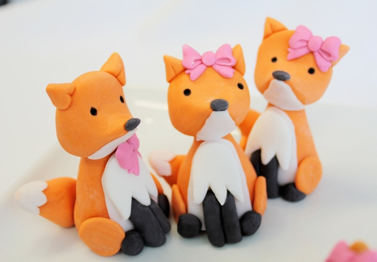 Woodland FOX fondant cake topper - 1 qty Edible 2.5 inch for a woodland party, camping party, birthday, wedding shower. $7.00, via Etsy.