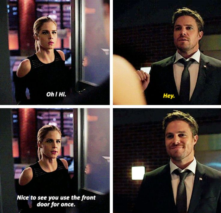 """""""Hi! Nice to see you use the front door for once"""" - Felicity and Oliver #Arrow"""