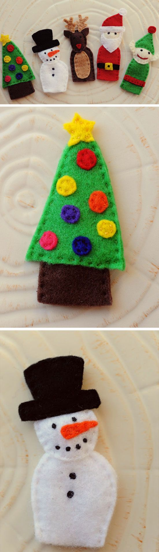 Felt finger puppets click pic for 23 diy christmas gifts for Easy christmas felt crafts