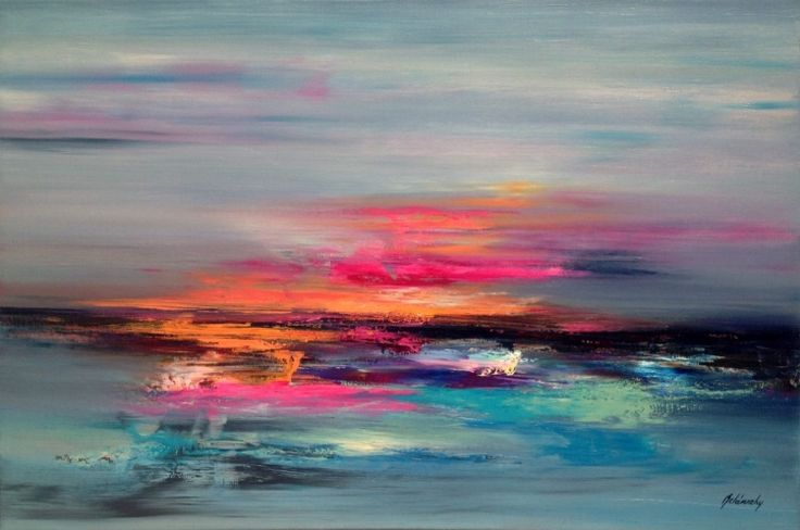 Glimpse of Heaven - 60 x 90 cm abstract landscape oil painting in pink, orange blue and grey (2016) Oil painting by Beata Belanszky Demko | Artfinder