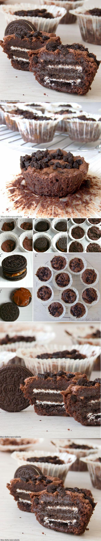 Brownie cakes de Oreo y dulce de leche / http://masdulcequesaladopuntocom.blogspot.com.es/