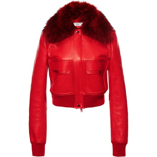 Givenchy Fur Collar Leather Jacket (488,050 INR) ❤ liked on Polyvore featuring outerwear, jackets, fur, givenchy, red, 100 leather jacket, genuine leather jackets, red jacket, givenchy jacket and fur collar jacket