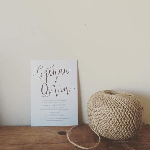 """The simplicity of copper foiling still makes me go Wao... #shakethattang #silkscreen #screenprint #foiling #foil #copper #wedding #weddinginvites #invites #engaged #australia #design"""