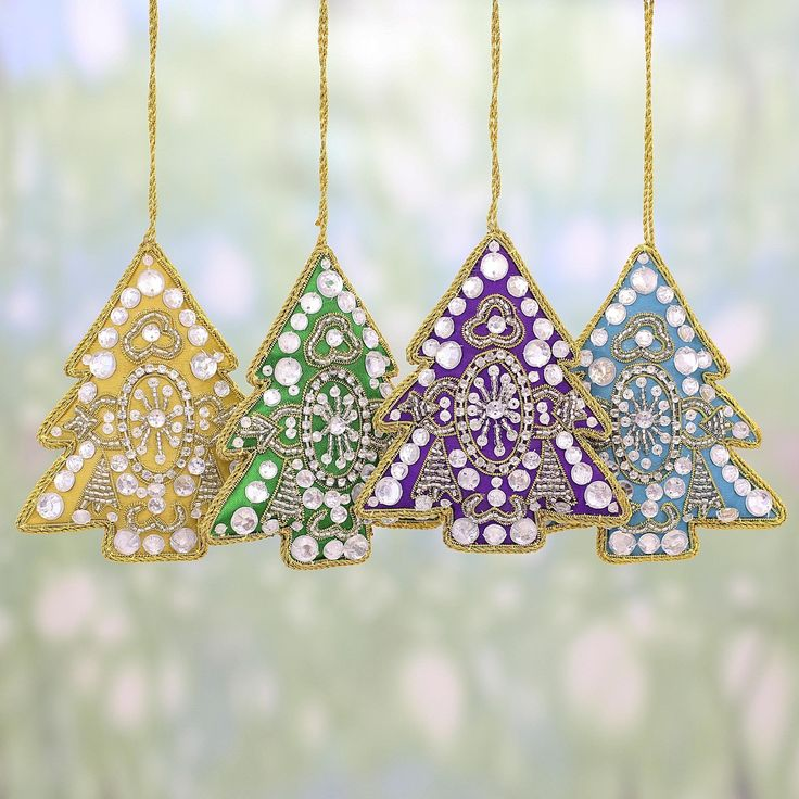 Novica Set of 4 Handmade Embroidered 'Colorful Holiday' Ornaments (India) (Solid), Green (Polyester)