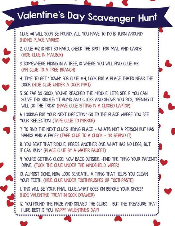 Valentine Scavenger Hunt for Kids (Free Printable!) I'm so excited to finally share this Valentine Scavenger Hunt for Kids with you!  Scavenger Hunts are such a fun way to let your kids (or your sweetheart) know you've thought about them enough to hide a gift and lead them to it.  The hunt just …: