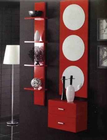 Recibidor con estanteria mueble entrada 2 cajones - Estanteria recibidor ...