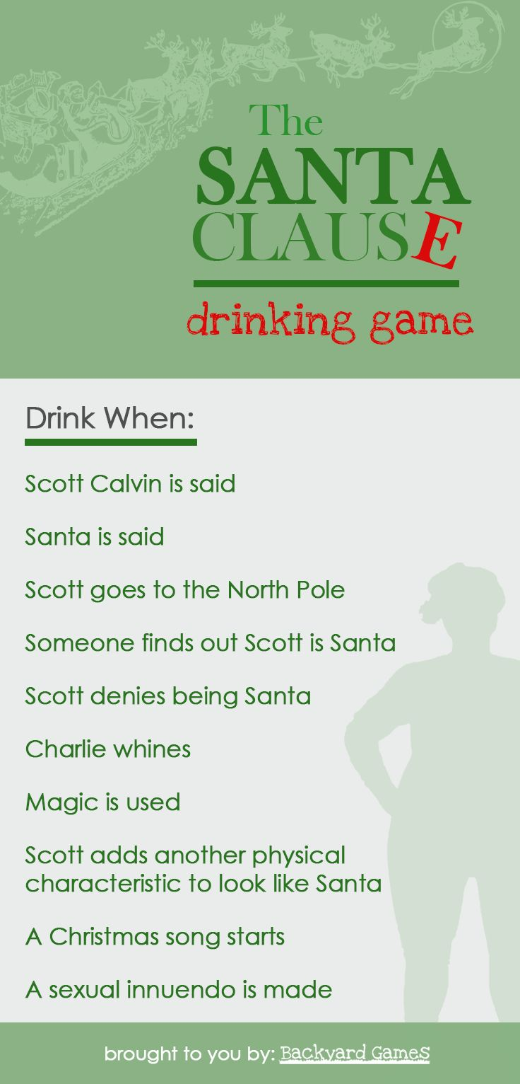 Get tipsy with santa clause drinking game movie drinking