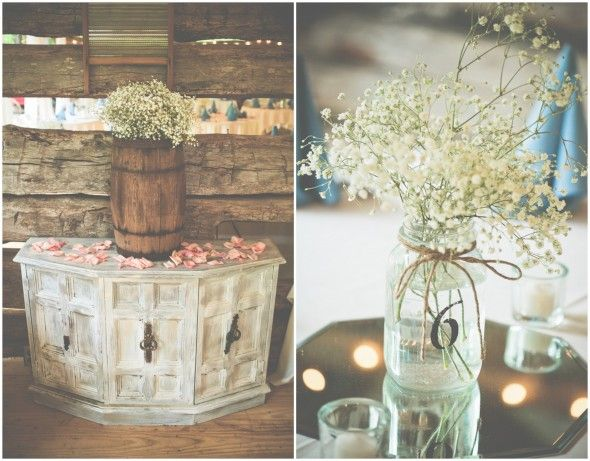 Mason Jar Wedding Table Numbers & Flowers