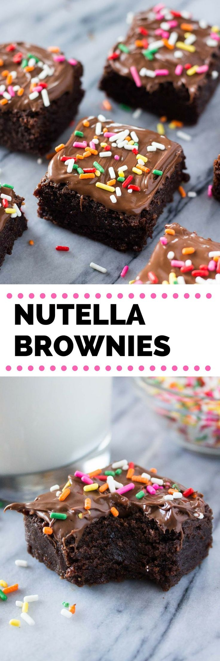 Super dense, ridiculously fudgy Nutella Brownies. Super easy, one bowl & no mixer required - you NEED to make these!