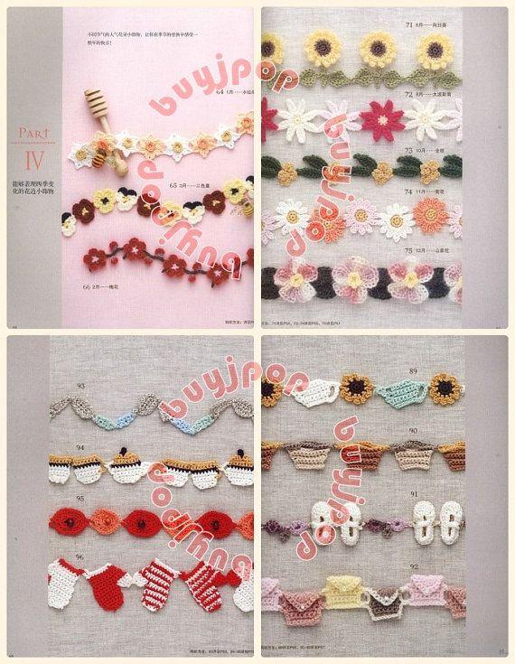 una serie de libros de 100 patrones de ganchillo japonés, representa 100 elementos de bordes de crochet en variedad de temas, incluyendo pastel, cupcake, galleta, animales, flores, tetera, vestido, manopla, bolsa, zapato, pájaro, mariposa, rana, pulpo, pescado, caramelo, seta. tomate, dulces... etc.  Este libro es originalmente en japones tiene SOLD OUT y ya NO AVAILEABLE para la venta ya, es publicado el autor * edición China * con el mismo contenido para las regiones de Asia fuera de…