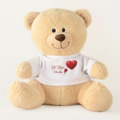 Valentine's Day Be Mine Red Rose Custom Teddy Bear - valentines day gifts diy couples special day
