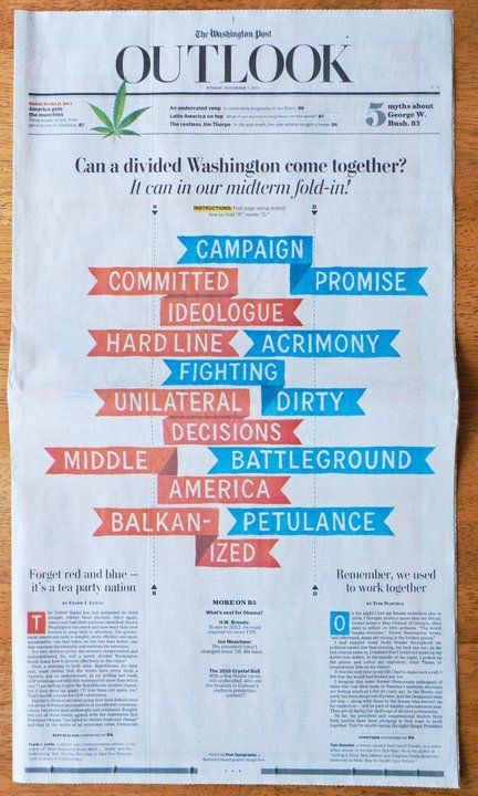 "the washington post의 일요판  2010년 11월 7일자 1면입니다.  ""Can a divided Washington come together?"" 라는 제목으로 아래에 R과 D의 점선, 레드와 블루 깃발이 그려져 있습니다.  공화당과 민주당을 R과 D로 표현한 것이지요.  깃발에 표현된 공화당과 민주당을 서술하는 단어들의 내용은 형편없습니다. ACRIMONY(악감정), UNITERAL DECISION(일방적인 결정), PETULANCE(무례한 태도), BALKANIZED(분열된)..  하지만 페이지를 접으면 어떻게 될까요? ^^ 이미지를 클릭하시면 그 답을 보실 수 있습니다."