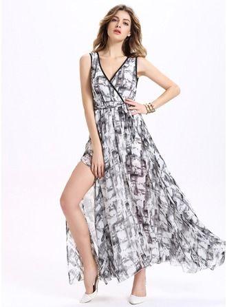 Chiffon With Print Maxi Dress