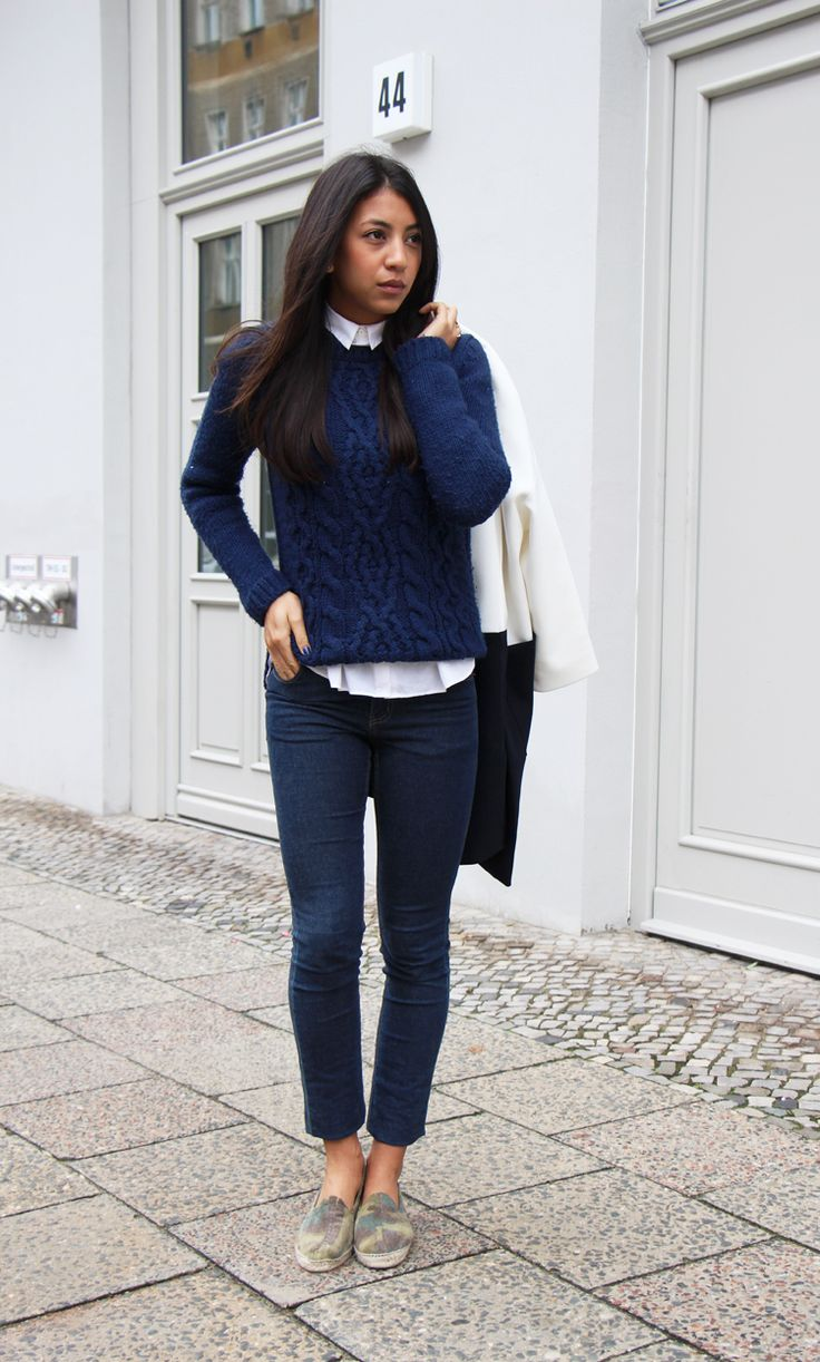 fall sweater, collared shirt, navy and white outfit, navy