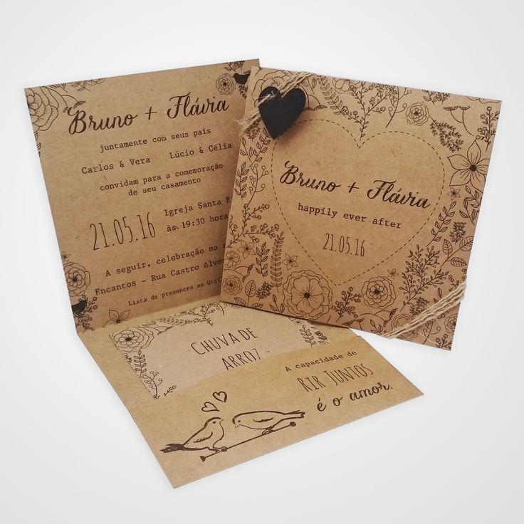 Convite de casamento rustico, em papel kraft, super diferente e moderno. Totalmente personalizável. Pode incluir chuva de arroz, sementes, mapa e etc. www.anaconvites.com.br