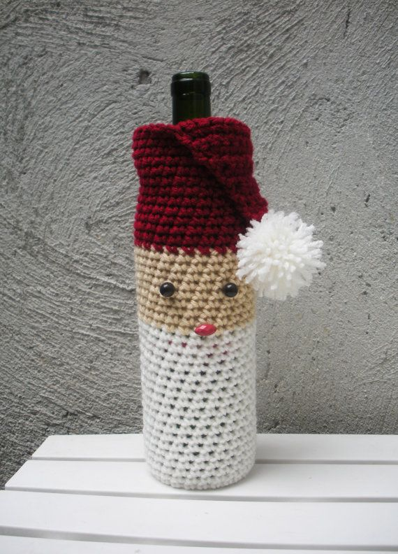 Santa Claus Crochet Wine Bag Cozy Housewarming by LanadeAna, $15.00