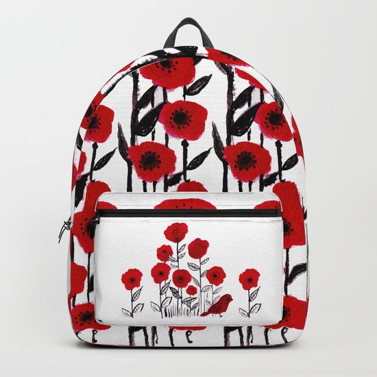 Tall poppies and red bird Backpacks