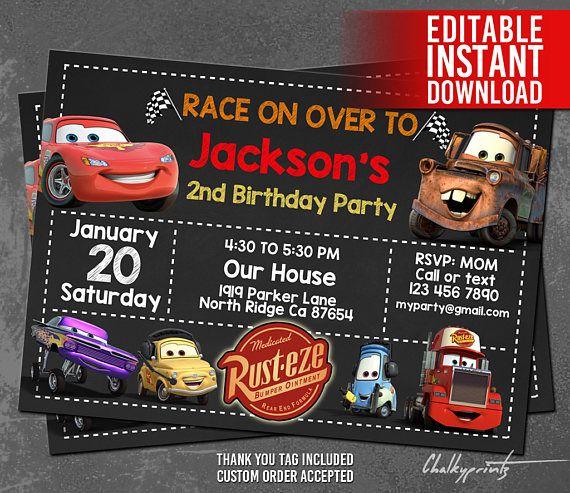 Disney Cars Invitation Instant Download Disney Cars Birthday Invitation Cars Th Disney Cars Birthday Cars Birthday Invitations Car Birthday Party Invitations