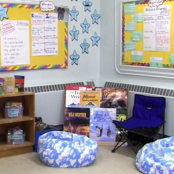 INSTRUCTION This virtual tour explores a teacher's reading area in her classroom. It is a space where the students and teacher gather daily to discuss our plans for the day, as well as to go through min-lessons in reading and writing. It is also the classroom reading area, so the students can go to enjoy their books individually or with partners. There is a varied selection of books in the classroom library within the reading area.