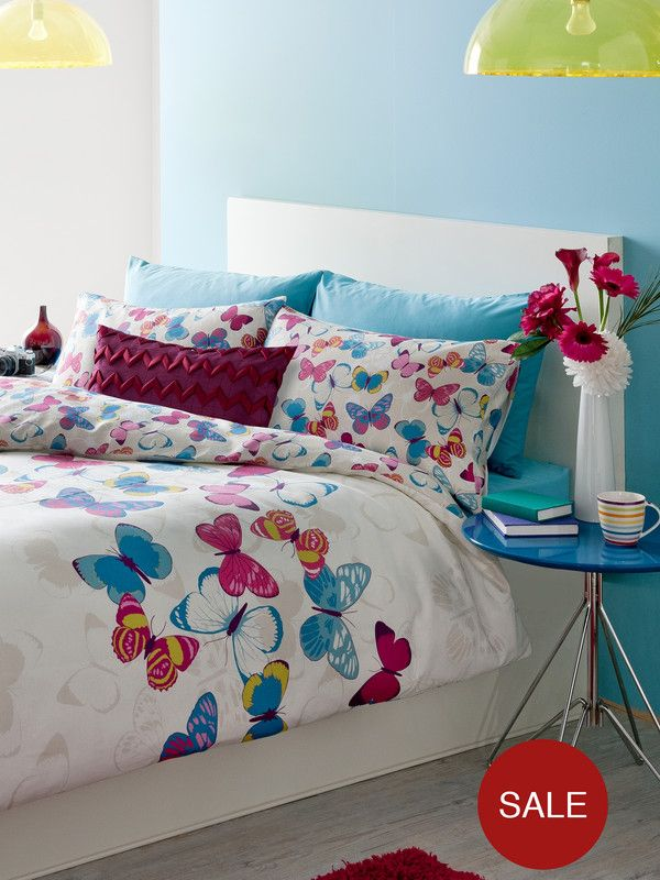 catherine lansfield butterfly fusion duvet cover and pillowcase set verycouk