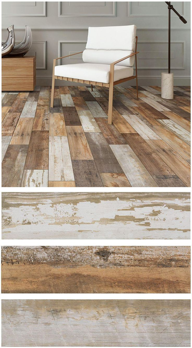 Montagna Vintage Chic porcelain tile is designed to convey the look of painted wood that has been weathered and reclaimed in a rich blend of shades and textures. The detail is extraordinary.