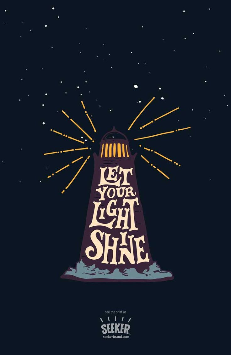 """Seriously, how can you not love this """"Let Your Light Shine"""" illustration by @euaregeneius? Available now in men's (http://seekerbrand.com/products/let-your-light-shine-mens-shirt) and women's (http://seekerbrand.com/products/let-your-light-shine-womens-shirt) shirts, and maybe coming soon as a…poster? (But shh! don't tell anyone!) #beaseeker #tshirt #poster"""