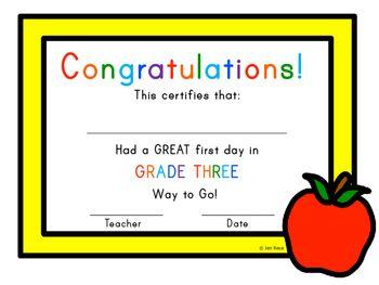 First Day of School Certificate - Third Grade / Grade Three