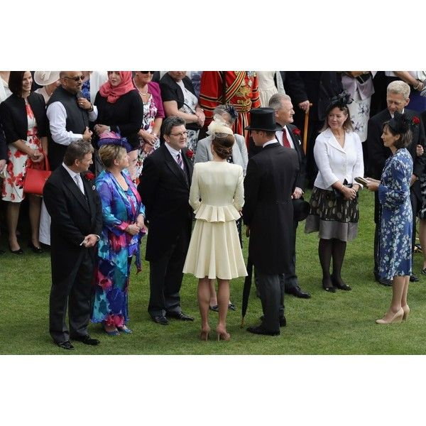 Kate Middleton joins William for Queen's garden party…in same outfit... ($12) ❤ liked on Polyvore featuring accessories