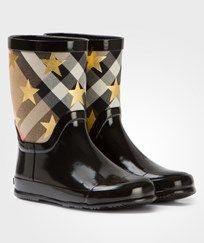 Burberry StarPrint House Check Rubber Boot Black Black