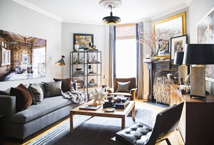 The dark colors give this space a modern and sophisticated feel. | http://domino.com