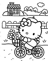 coloring pages of hello kitty riding a bike with a basket of flowers in the front high quality coloring pages