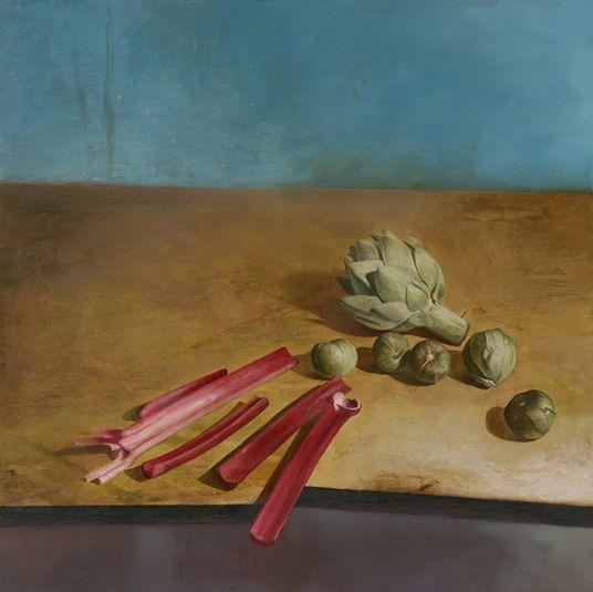 Artichoke, Tomatillos, Rhubarb, 2009 | Oil on panel | 24 x 24 inches. Jim Phalen.