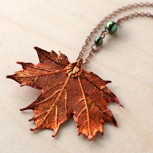 (Real Leaf)Fallen Leaf Necklace - Maple at shanalogic.com