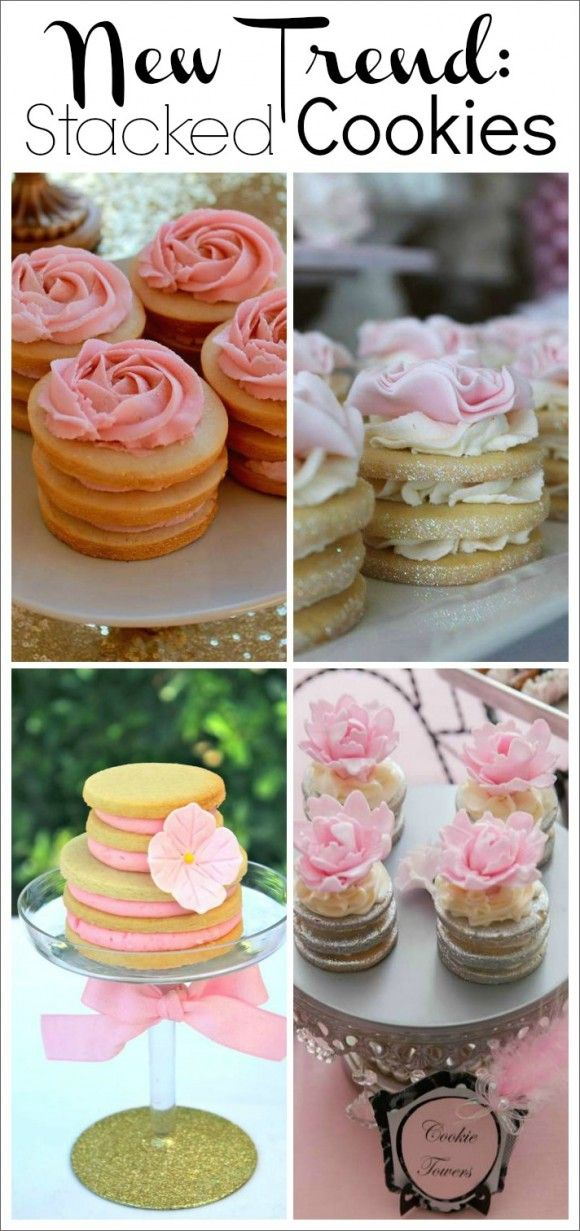 Stacked decorated cookies are a new dessert trend we're seeing on CatchMyParty.com