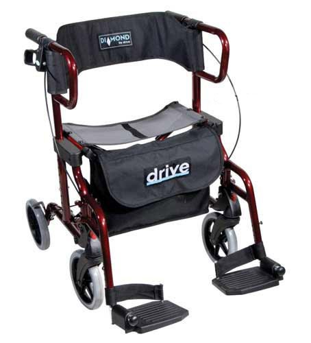 The Rollator Transport Wheelchair is a transport chair and a Rollator all in one. It converts easily from a rollator to a transport chair plus you need no tool to adjust the footrests nor remove the wheels
