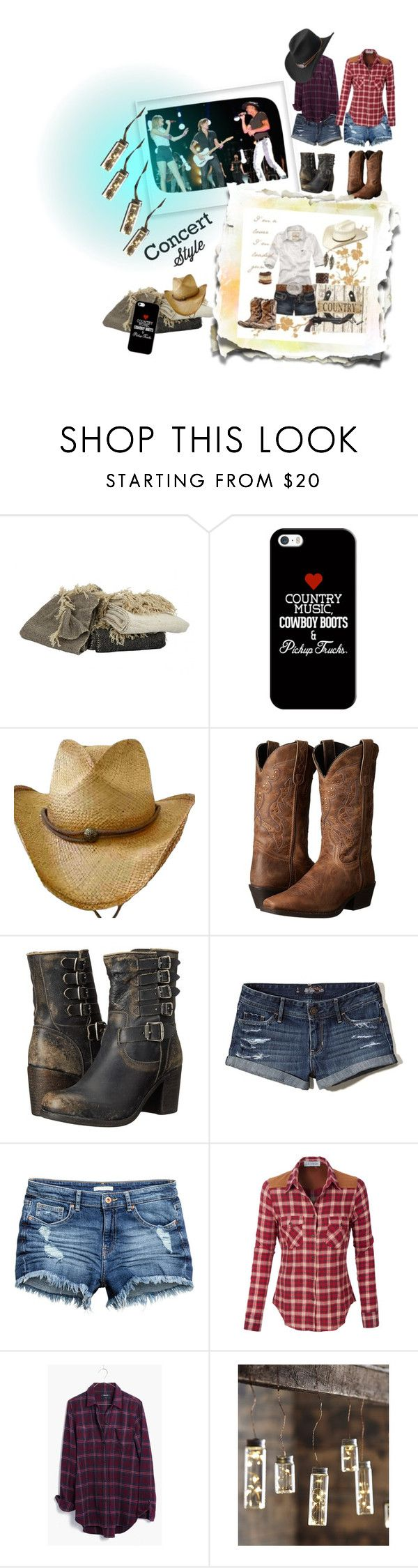 """""""Concert style"""" by maryann-bunt-deile ❤ liked on Polyvore featuring Jayson Home, Casetify, Laredo, Frye, Hollister Co., LE3NO, Madewell, Roost and Master Hatters of Texas"""