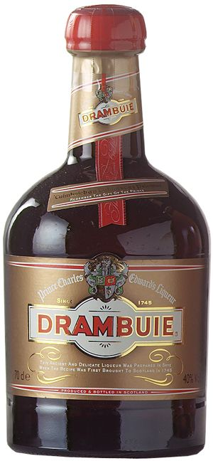 "Drambuie is a sweet, golden coloured 80-proof liqueur made from malt whisky, honey, herbs, and spices. Produced in Broxburn, West Lothian, Scotland, serve straight, on the rocks, or add to mixed drinks such as the Rusty Nail. The name ""Drambuie"" may derive from the Scottish Gaelic phrase an dram buidheach, meaning ""the drink that satisfies"", or possibly an dram buidhe meaning ""the red drink"". Drambuie received the highest score, a ""96-100"", in the Wine Enthusiast's 2008 spirit competition."