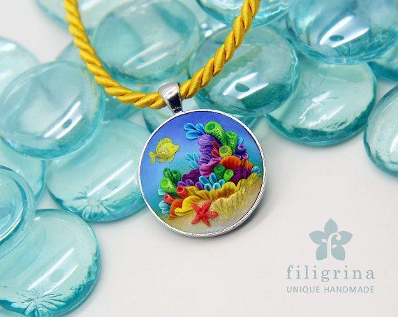 Ciondolo Pesci di barriera corallina tono argento di Filigrina