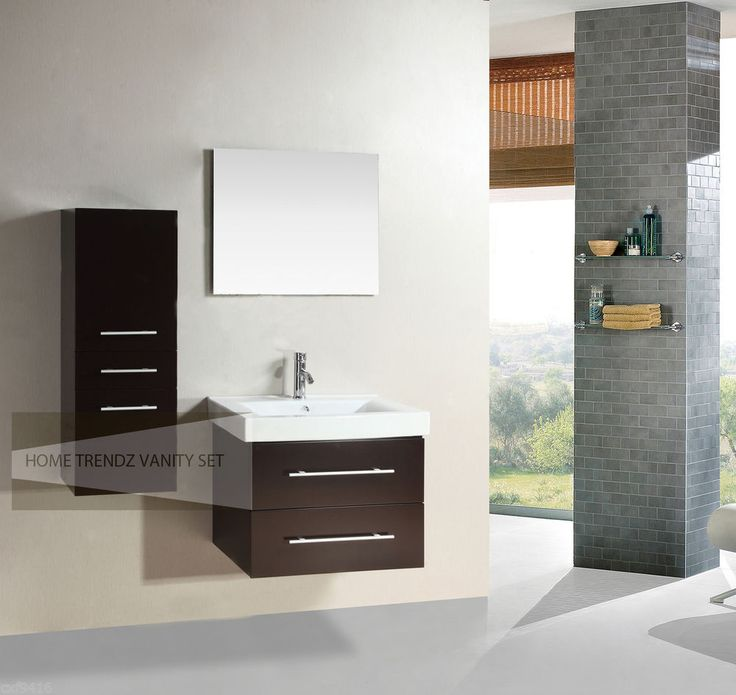 28 Inch Single Wall Mount Bathroom Vanity Cabinet With Linen Cabinet Amp Mirr Floating Bathroom