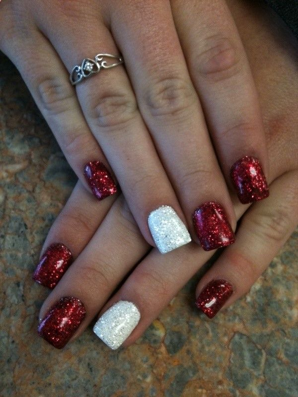 Red and White Rock Star Nails