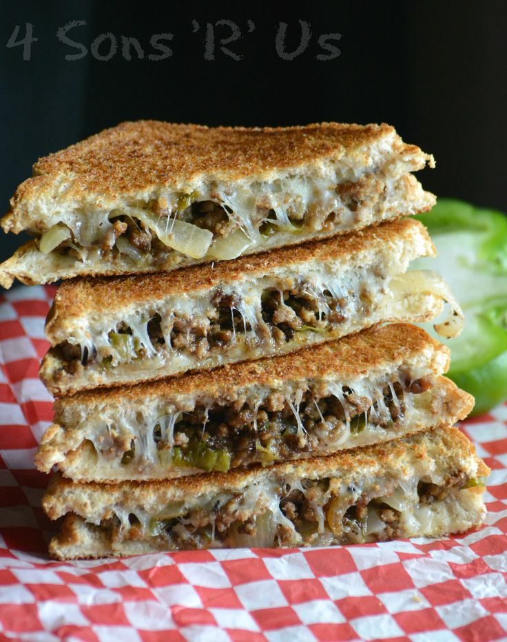 Ground Beef Philly Cheesesteak Grilled Cheese on MyRecipeMagic.com