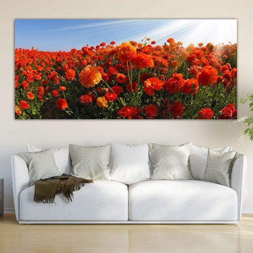 Λιβάδι με κόκκινα λουλούδια πίνακας σε καμβά