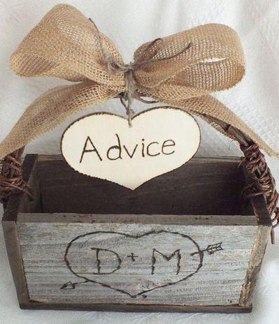 Rustic Wedding Advice Card Box And Burlap Wedding Decor on Wanelo