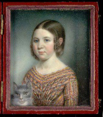 Cats in Art and Illustration: Miniature, Sarah Goodridge - Beulah Appleton, ca. 1840 - Smithsonian American Art Museum: