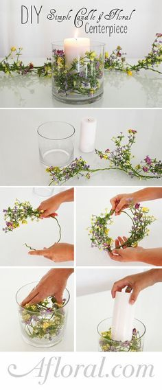 DIY Simple Floral and Candle Centerpiece. Make this beautiful centerpiece with silk flowers from Afloral.com. It is so easy to make and will look perfect on your wedding or holiday tables.