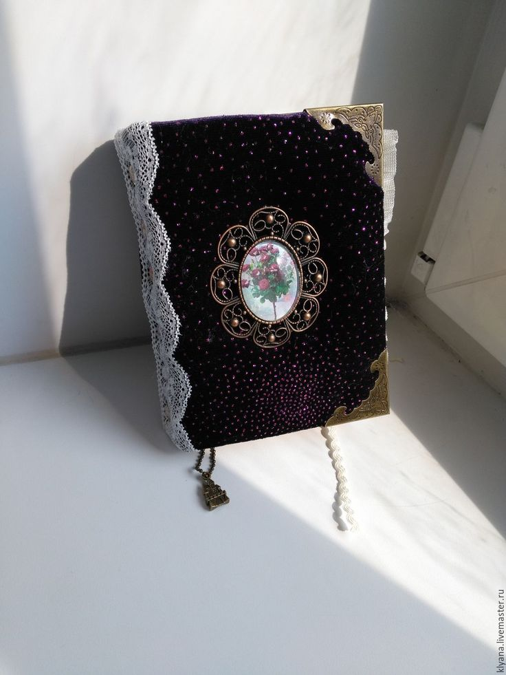 Купить Бархатный Блокнот - фиолетовый, блокнот ручной работы, камея, бархат, подарок, бумага, чай