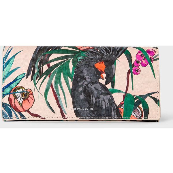 Paul Smith Women's 'Cockatoo' Print Leather Tri-Fold Purse (£195) ❤ liked on Polyvore featuring bags, wallets, genuine leather wallet, leather wallets, leather bags, pattern wallet and zip coin wallet