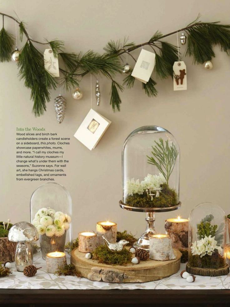 Natural christmas table display christmas loves for Christmas decorations